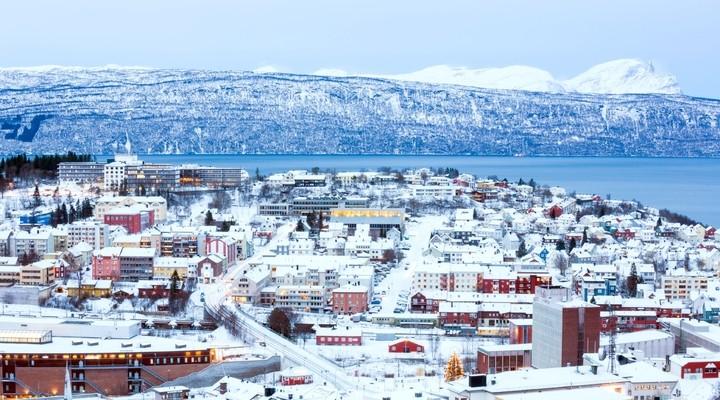 Winters beeld van Narvik, Noorwegen