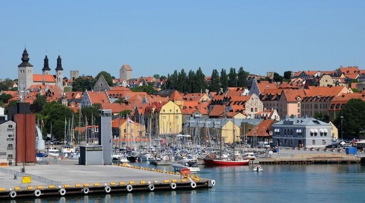 Haven van Visby in Gotland - Zweden
