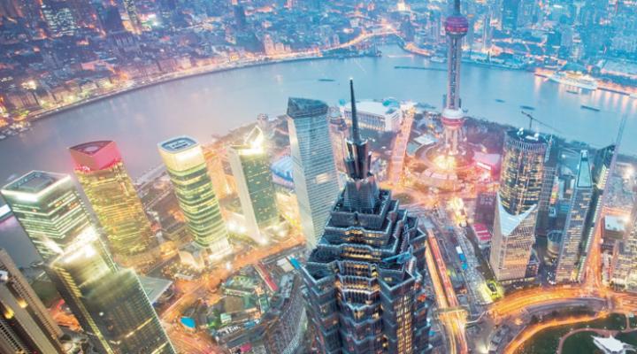 Het Grand Hyatt Shanghai 's avonds