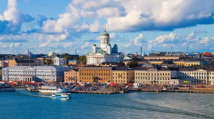 De skyline van Helsinki