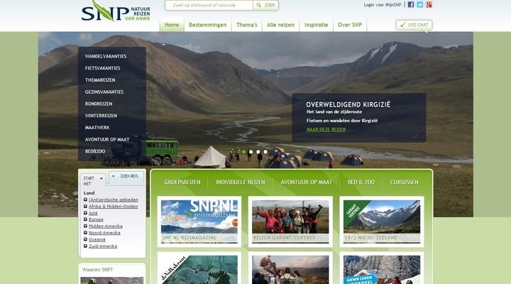 De website van SNP Reizen