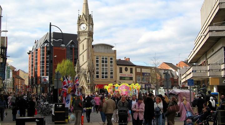 Het centrum van Leicester in Engeland