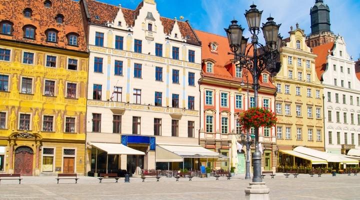 Middeleeuws plein in Wroclaw, Polen