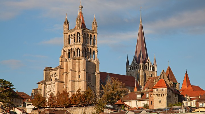 Oude kathedraal in Lausanne
