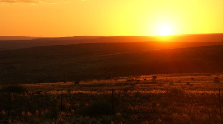 African sundowner, Zonsondergang Afrika, Namibië