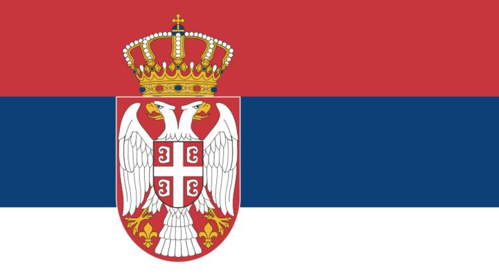 Vlag van Servië (rood/wit/blauw met wapen)