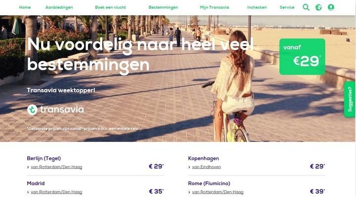De website van Transavia