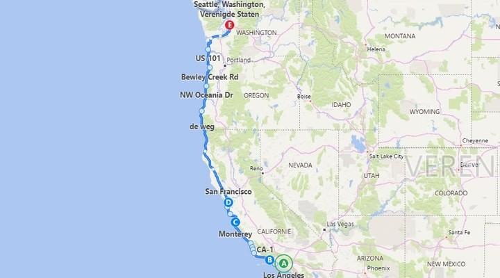 Highway 1, van LA naar Seattle