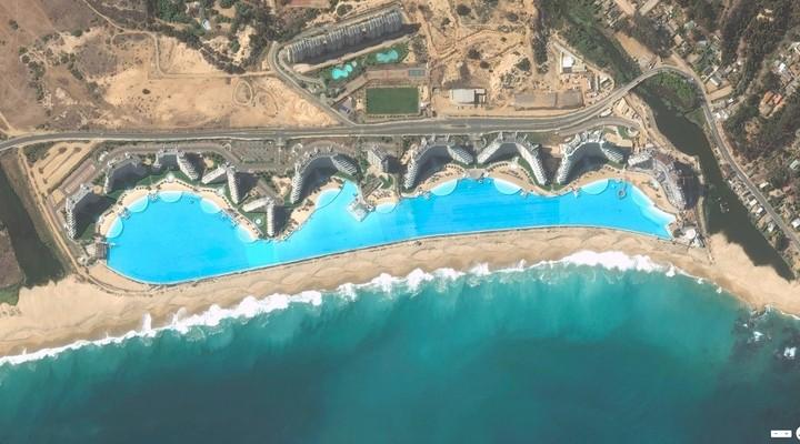 San Alfonso del Mar 's werelds grootste zwembad vanuit de lucht gezien ©metro951.com