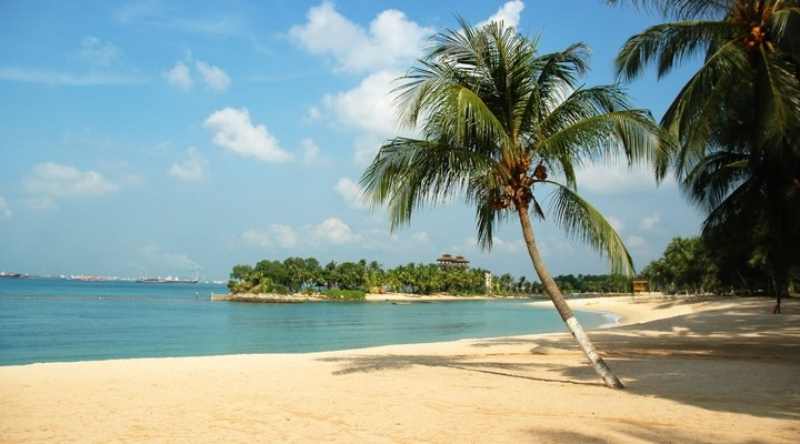 Het strand bij Sentosa, Singapore