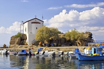 Kapel in de haven van Skala Sykamineas, Lesbos