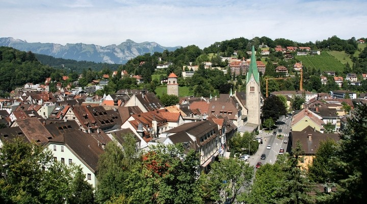 Stadsbeeld Feldkirch, Oostenrijk