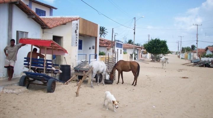 Straatbeeld in vissersdorp Galinhos