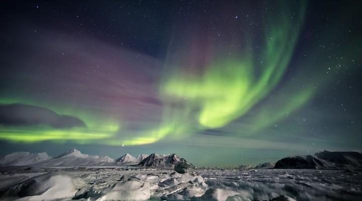Het noorderlicht op Spitsbergen