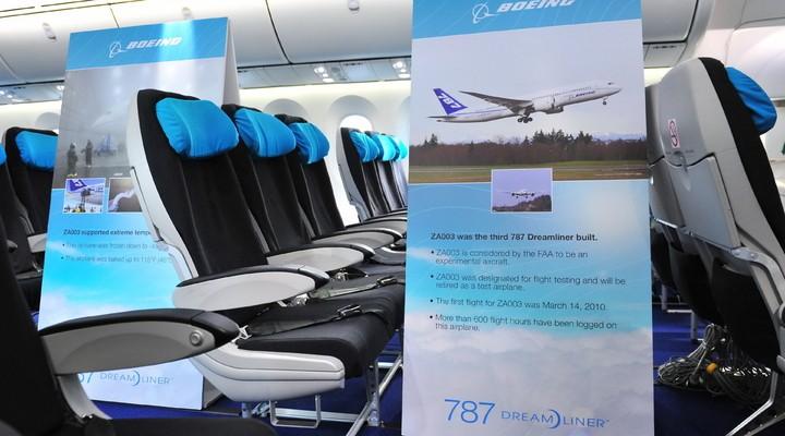 interieur van een boeing 787 dreamliner