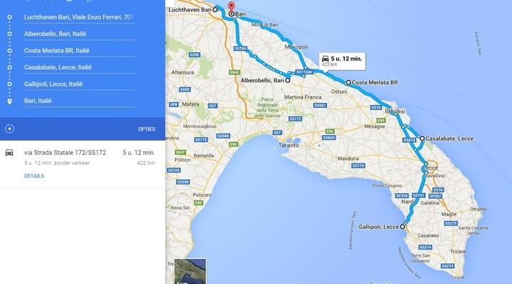 Kaart Rondreis Puglia (met kinderen)