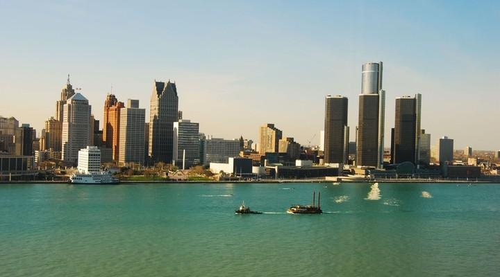 Detroit skyline gezien vanaf Windsor