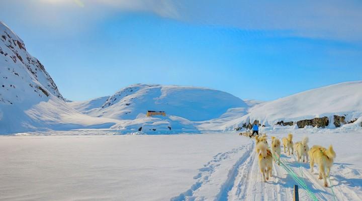 Winters landschap, Hondenslee, Groenland