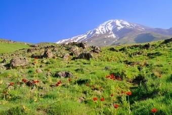Landschap Iran met vulkaan Damavand