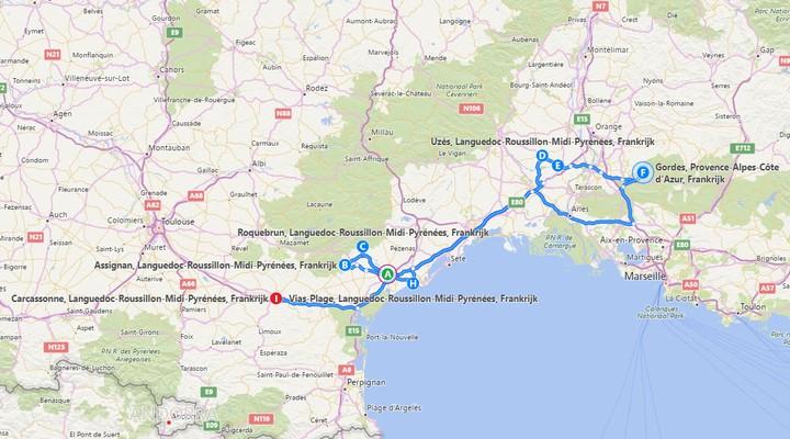 De route door Languedoc-Roussillon