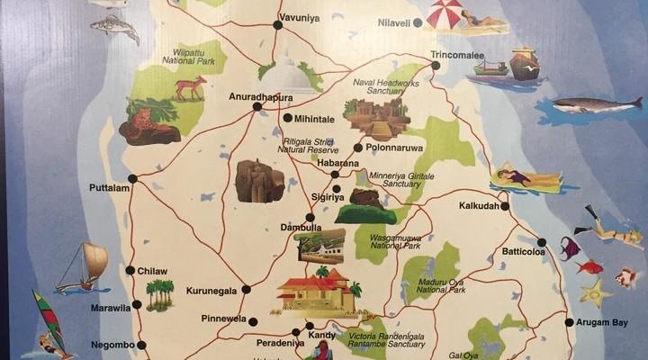 Een handig kaartje van Sri Lanka