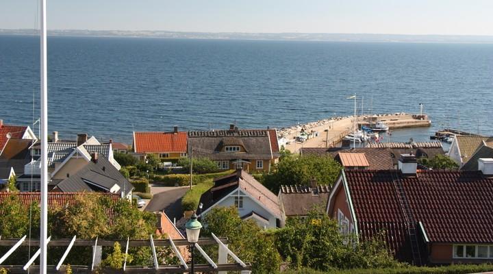 Het uitzicht op Arild vanuit het hotel