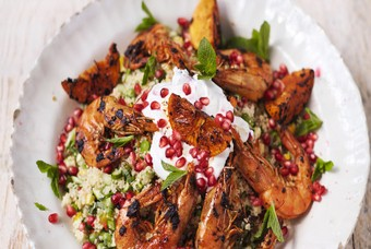 Marokkaanse couscous met garnalen