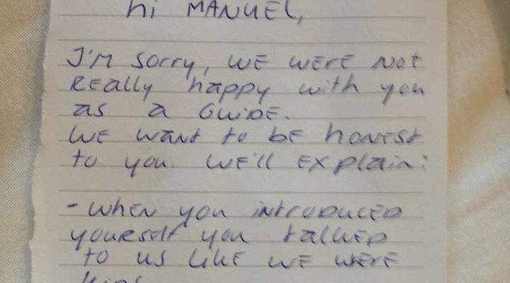 Briefje aan Manuel