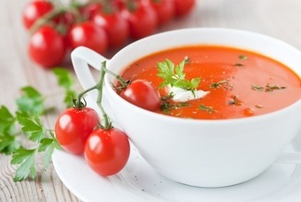 De koude tomatensoep gazpacho