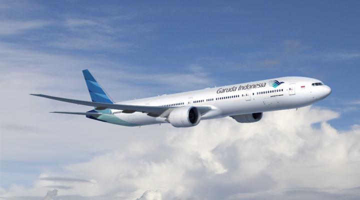 Een vliegtuig van de maatschappij Garuda Indonesia