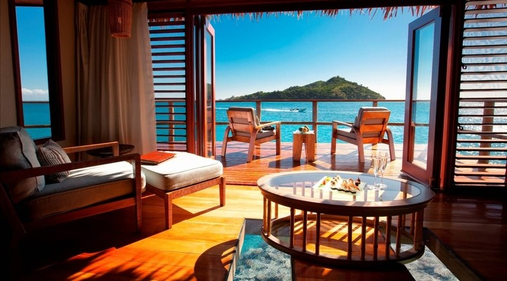 Uitzicht vanuit Likuliku Lagoon Resort op Fiji