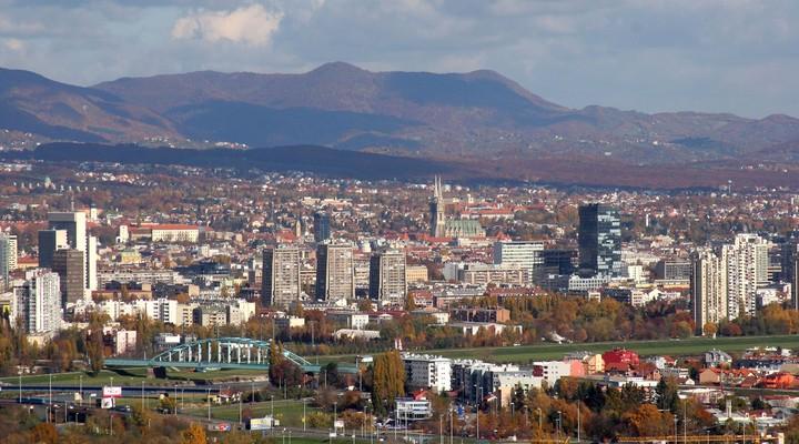 Luchtfoto van Zagreb, hoofdstad Kroatie