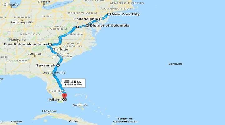 Route van New York naar Miami