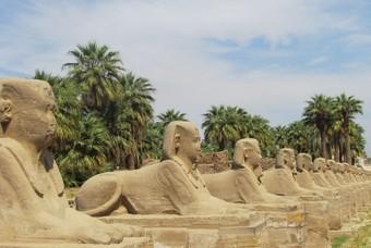 Sfinxen in Luxor, woestijnstad in Egypte