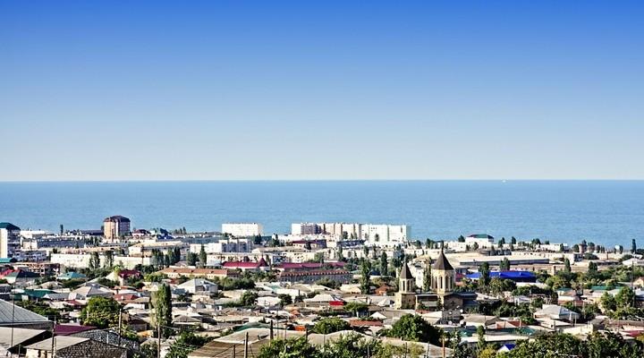 Uitzicht op de stad Derbent, Dagestan, Rusland