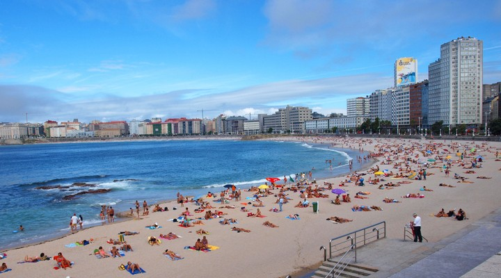 Riazor strand in A Coruña
