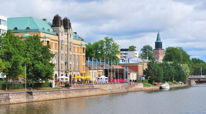 Uitzicht op rivier de Aura, Turku, Finland