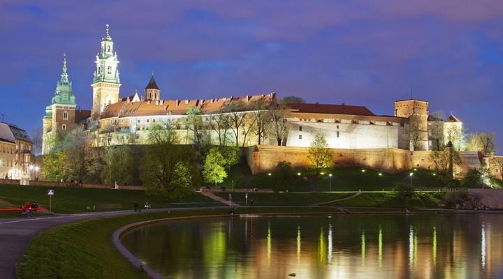Krakau in de avond, Polen
