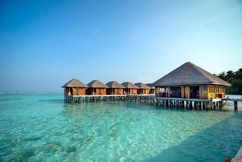 Bungalows op het Meeru Island Resort & Spa