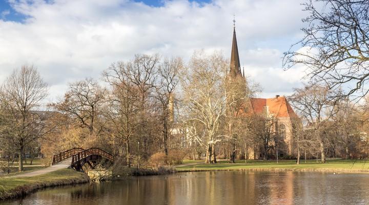 Johannapark, Luther kerk, Leipzig, Saksen