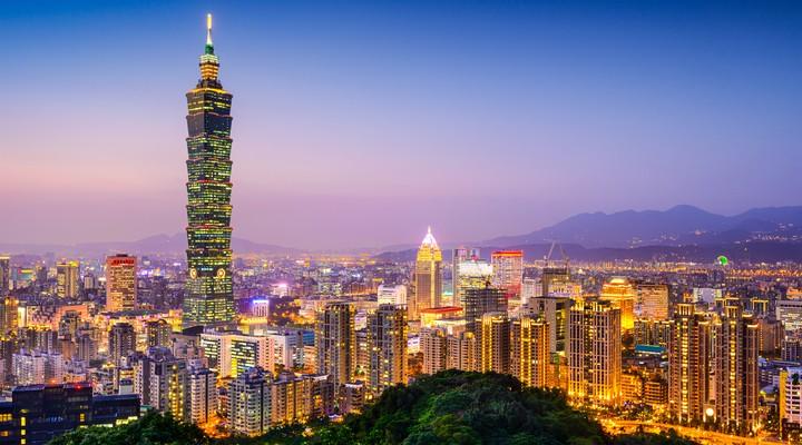 De skyline van Taipei, Taiwan