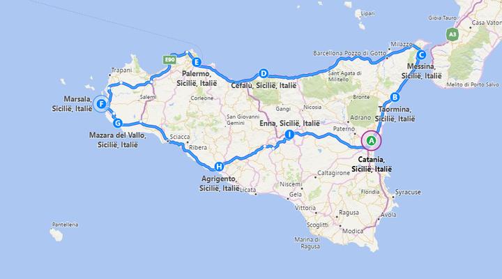 De route van de rondreis