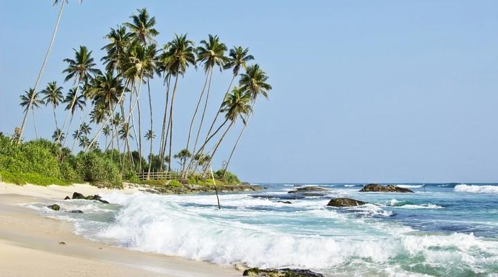 Een van de stranden in Sri Lanka