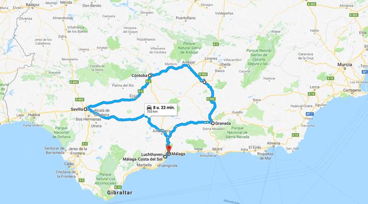 Kaart rondreis Koningssteden van Spanje (in Paradores)