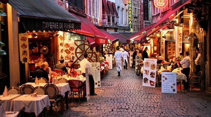 Restaurants Rue des Bouchers, Brussel, Belgie