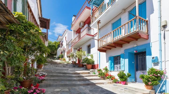 Traditioneel straatje, Skopelos-stad