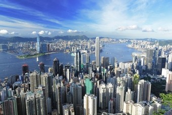Uitzicht over de stad Hong Kong