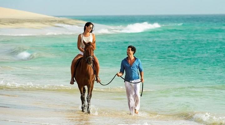 Paardrijden langs het strand
