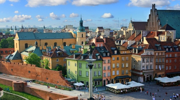 Oude stadsplein Warschau, Polen