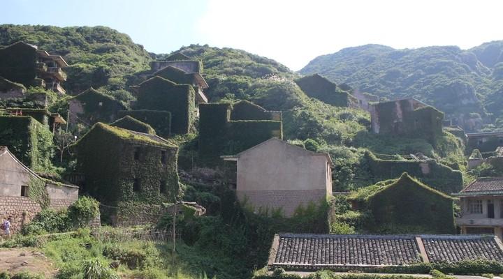 Het begroeide vissersdorp op Gouqi Island